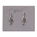 [7076060] Earrings - Large 1.7cm Sterling Silver Stud Treble Clefs - Tomas