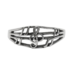 [70708072M] SILVER RING TREBLE CLEF & NOTES. MEDIUM SIZE 8