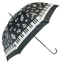[708084340] Umbrella - black with silver notes & clefs & a keyboard border. Slim black handle.,EXTRA BULK STOCK AT ADLIB