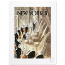 [708084233] Print - The New Yorker - The Orchestra by Coulisse. Image of the orchestra preparing to go on stage. 56x76 Sempe