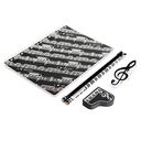 [70808252] 32K STATIONERY KIT. NOTEBOOK BLACK WITH WHITE MANUSCRIPT. 2 PENCILS WITH KEYBOARD. GRANDPIANO ERASER & TREBLE CLEF CLIP.