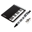 [708043] 100K STATIONERY KIT/SET -NOTEBOOK BLACK WITH WHITE KEYBOARD, PEN BLACK WITH WHITE KEYBOARD & TREBLE CLEF ERASER.