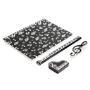 [708044] 32K Stationery Set - Notebook black with notes & clefs. 2 keyboard pencils with grand piano eraser & treble clef clip.