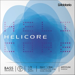 [D2-H611 1/8M] D'Addario Helicore Bass Orchestral, G String, 1/8, Medium Tension