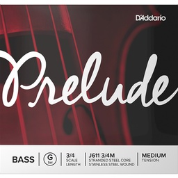 [D2-J611 3/4M] D'Addario Prelude Double Bass, G (Med), 3/4